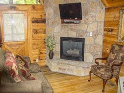 Living area of studio cabin rental in Gatlinburg Tennessee