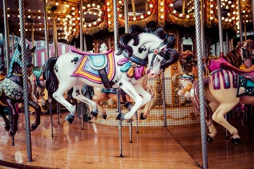 Beautiful carousel horses at Gatlinburg attraction