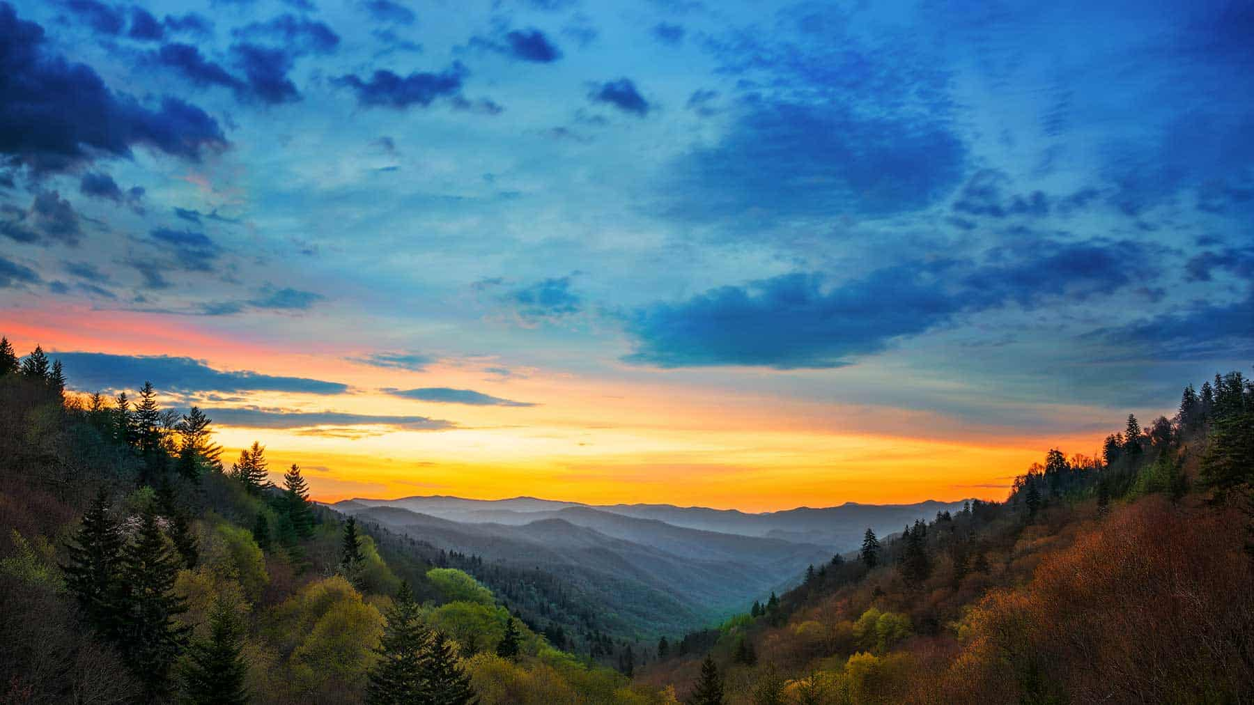 Sunrise over the Smoky Mountains